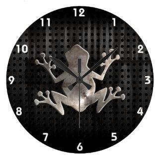 Grunge Frog Large Clock