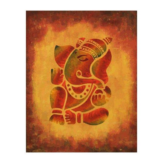 Ganesh Wall Art grunge ganesha painting wood wall art | zazzle