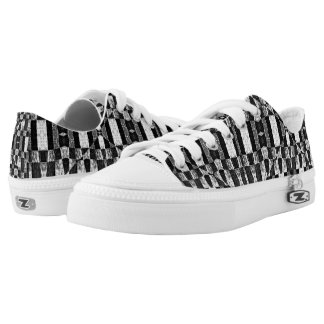 Grunge Geometric Checked Printed Shoes
