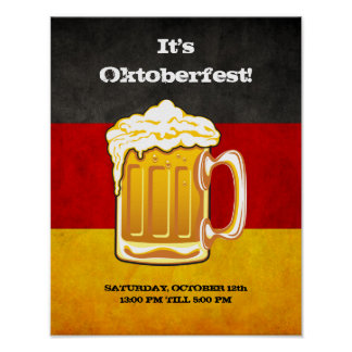 Grunge Germany Flag - Oktoberfest Beer Party Poster