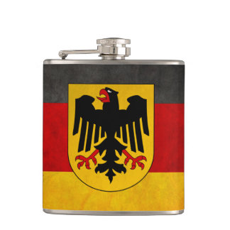 Grunge Germany Flag with Shield Badge Hip Flask
