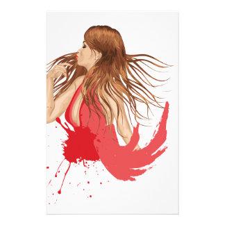 Grunge Girl in Red Stationery