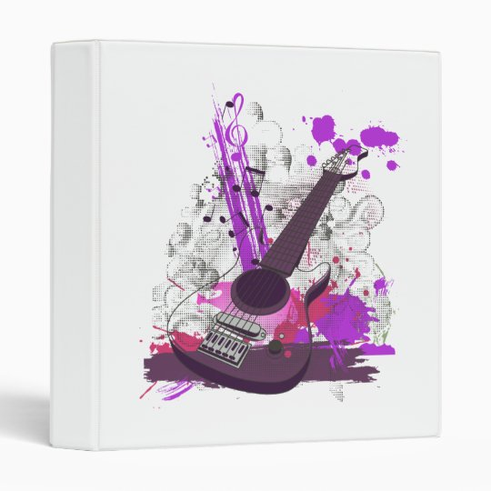 grunge girly electric guitar 3 ring binder