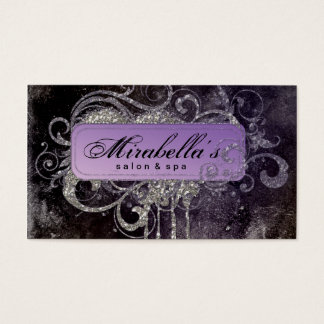 Grunge Glitter Salon Spa Black Purple Silver Business Card