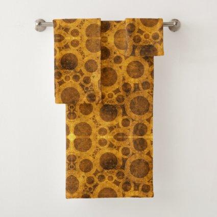 Grunge Gold Brown Steampunk Pattern Bath Towels