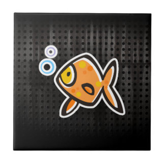 Grunge Goldfish Small Square Tile