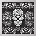 Grunge gótico blanco del azúcar del negro decorati posters