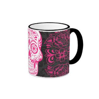 Grunge gótico del azúcar de las rosas fuertes de l taza a dos colores
