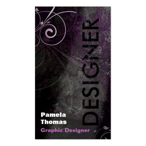 Grunge Graphic Designer Business Card Black Pink