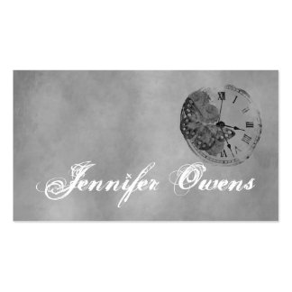 Grunge Gray Clock Personal Business Card