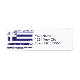 Grunge Greece Flag Label