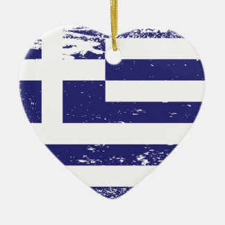 Grunge Greece Flag Double-Sided Heart Ceramic Christmas Ornament