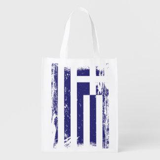 Grunge Greece Flag Reusable Grocery Bags