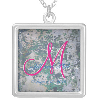 Grunge Green 3d Monogram Silver Plated Necklace