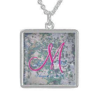 Grunge Green 3d Monogram Sterling Silver Necklace