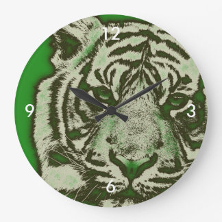 Grunge Green Abstract Tiger Large Clock