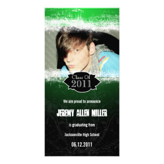 Grunge Green Black Graduation Photo Card