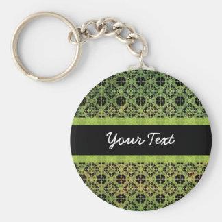 Grunge Green Pattern Basic Round Button Keychain