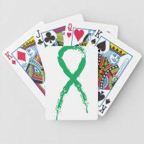 Grunge Green Ribbon Bicycle Playing Cards