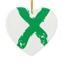 Grunge Green Ribbon Ceramic Ornament