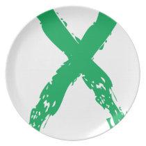 Grunge Green Ribbon Dinner Plate