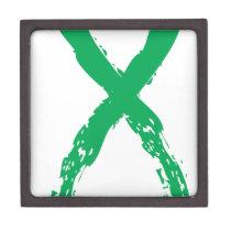 Grunge Green Ribbon Gift Box