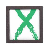 Grunge Green Ribbon Jewelry Box