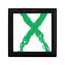 Grunge Green Ribbon Keepsake Box