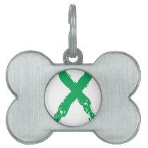 Grunge Green Ribbon Pet Name Tag