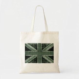 grunge green UK flag design Budget Tote Bag