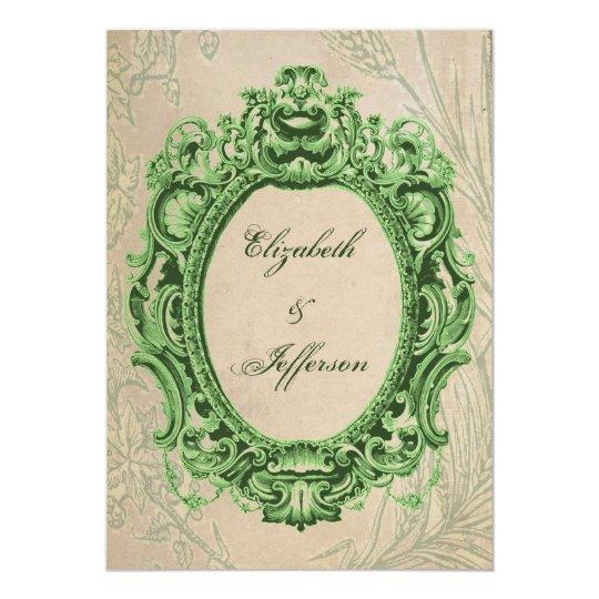 Grunge Green Vintage Frame Wedding Invitations