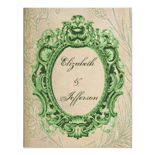 Grunge Green Vintage Frame Wedding Reply Card