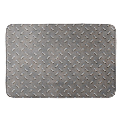 Grunge Grey Metal Tread Pattern Bathroom Mat Zazzle