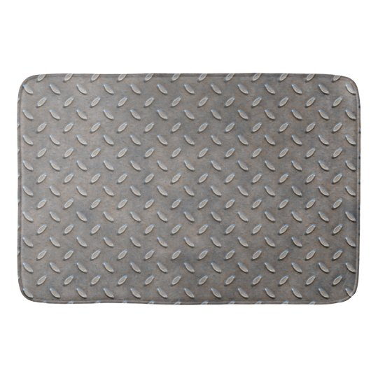 Grunge Grey Metal Tread Pattern Bathroom Mat Zazzle