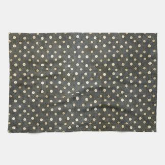 Grunge gris oscuro de los lunares blancos de moda toallas de mano