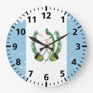 Grunge Guatemala Flag Large Clock