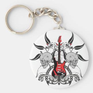 Grunge Guitar and Skull Basic Round Button Keychain