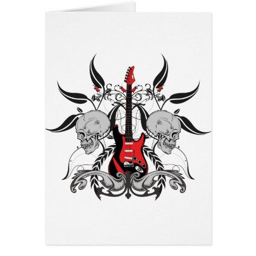 Grunge Guitar and Skull Greeting Card