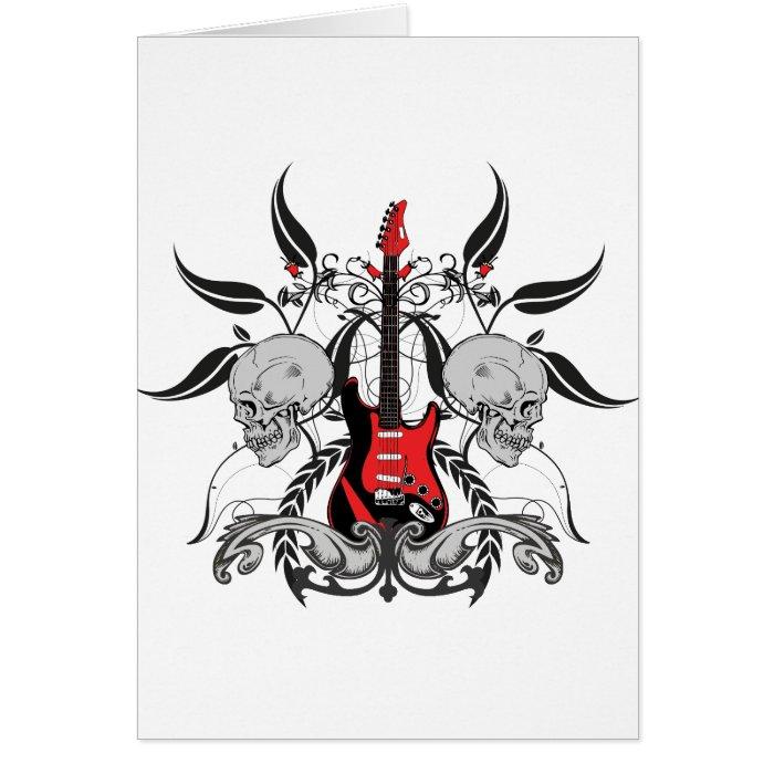 Grunge Guitar and Skull Card