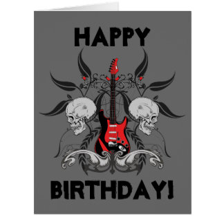Grunge Guitar and Skull Happy Birthday Message Large Greeting Card