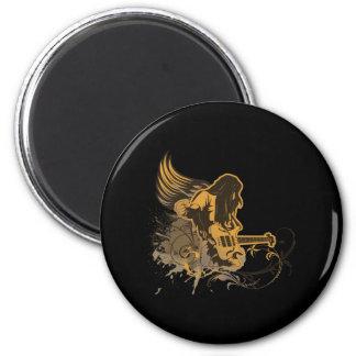 grunge guitar angel dude 2 inch round magnet