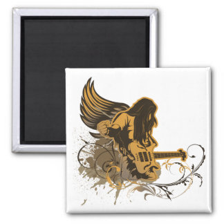 grunge guitar angel dude 2 inch square magnet