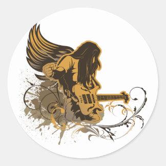 grunge guitar angel dude classic round sticker