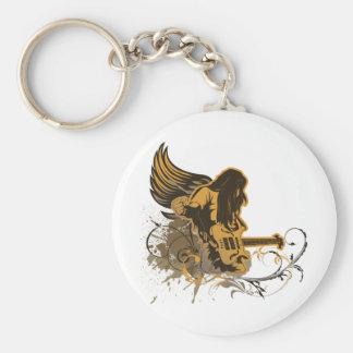 grunge guitar angel dude basic round button keychain