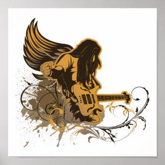 grunge guitar angel dude poster