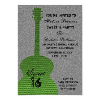 Grunge Guitar Stripes Sweet Sixteen Invite, Green Card