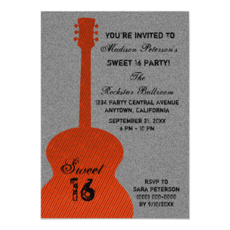 Grunge Guitar Stripes Sweet Sixteen Invite, Orange Card