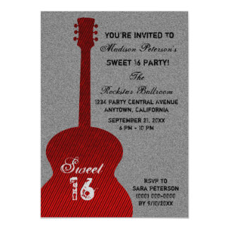 Grunge Guitar Stripes Sweet Sixteen Invite, Red Card
