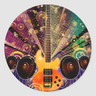 Grunge Guitar with Loudspeakers 2 Classic Round Sticker