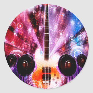 Grunge Guitar with Loudspeakers 3 Classic Round Sticker